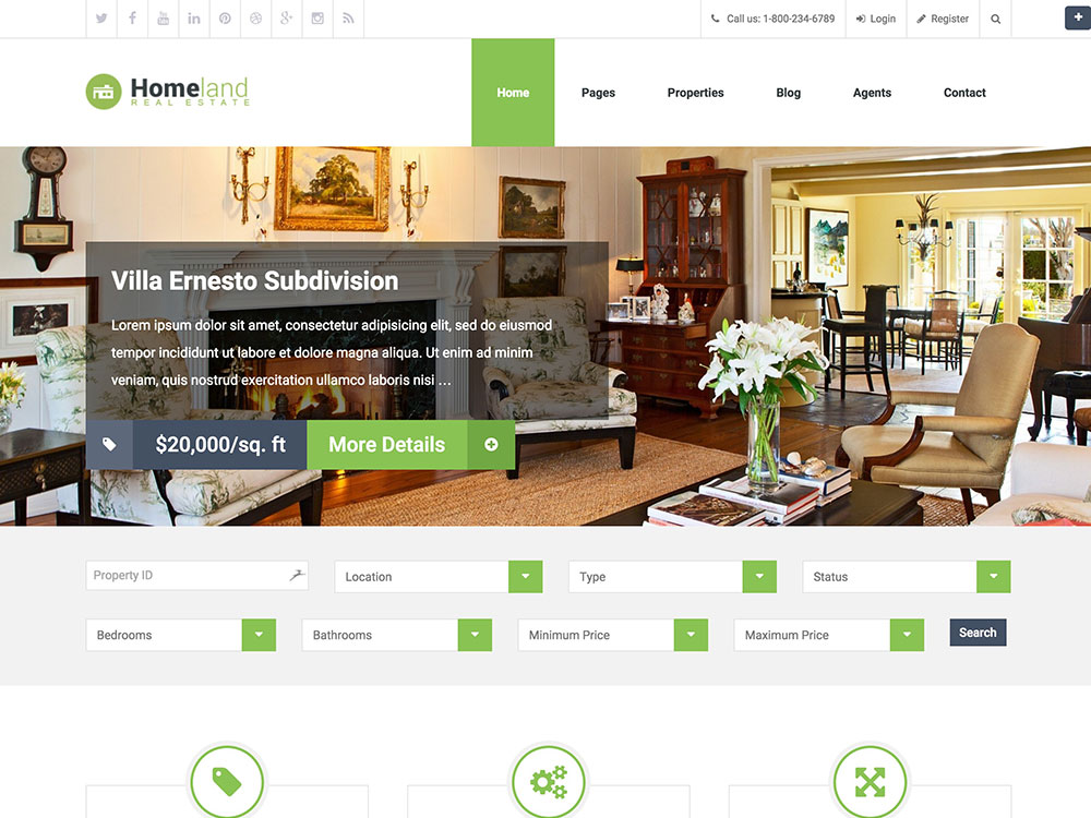 Property Theme Wordpress Homeland is an attractive and purpose oriented Real Estate WordPress Theme.